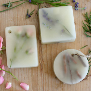 wax bars with dried flowers