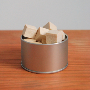 wood cubes in dish