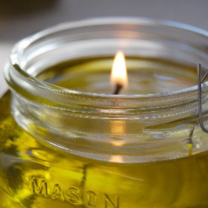 olive oil candle in jar