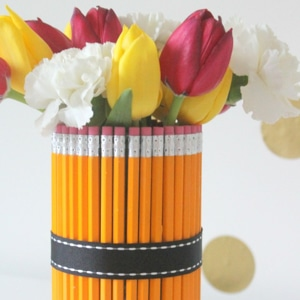 vase made from pencils