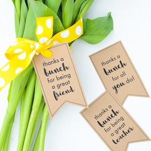 Thanks a bunch flower gift tags for teachers