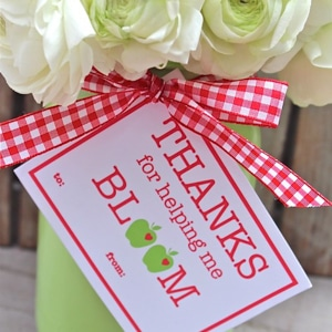 Flowers with thank you tag