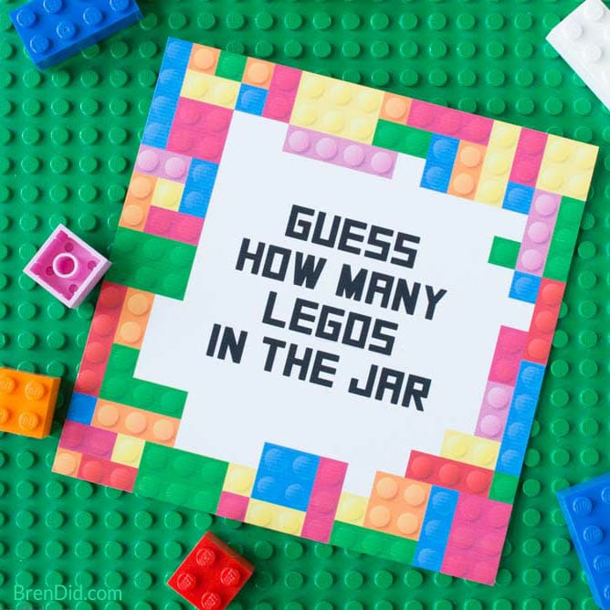 Free Printable Lego Party Game: Guess the Number of Legos - Bren Did