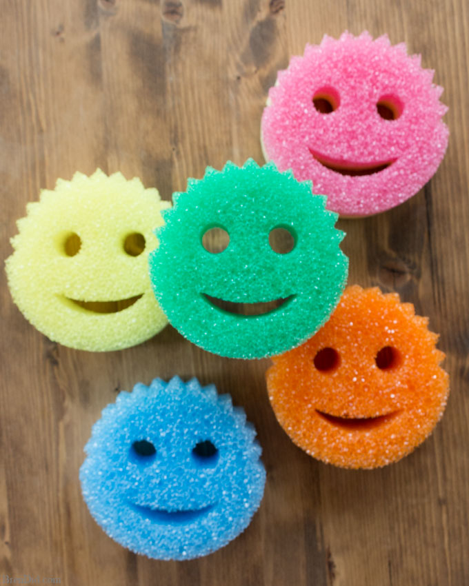 Colorful sponges with Cleaning List