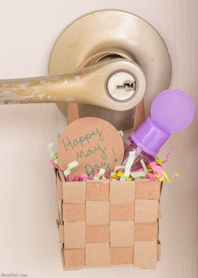 may day basket hanging on door handle