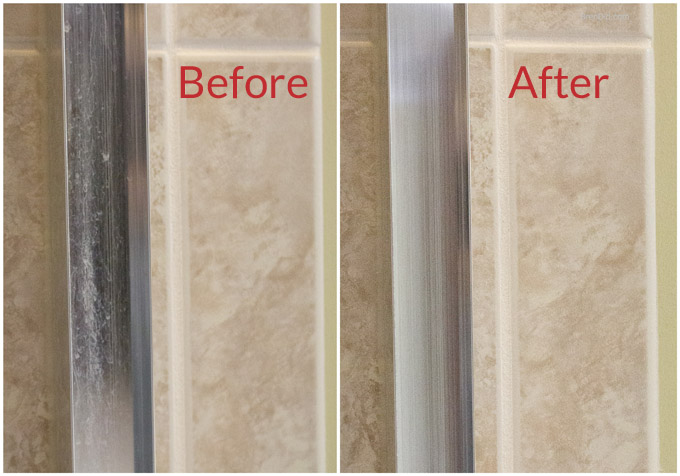 Shower Track Before and After Cleaning