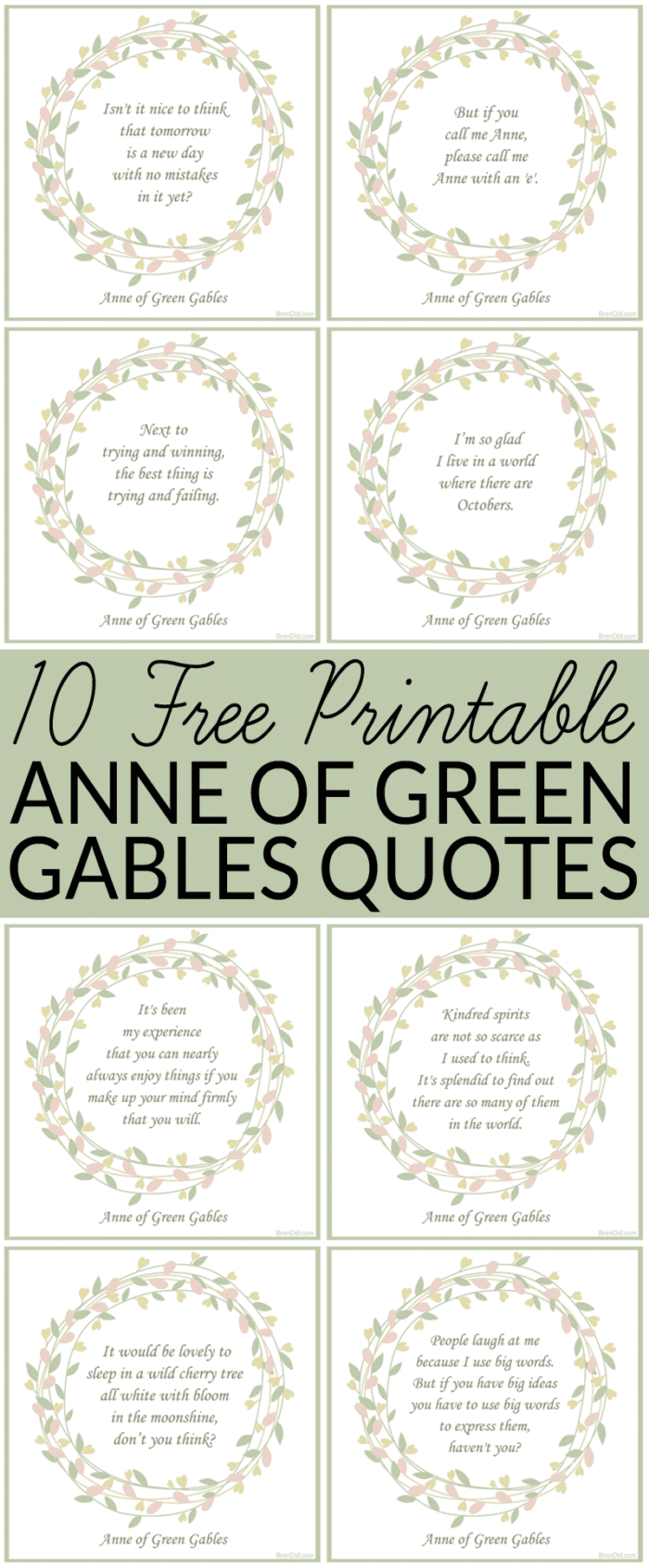 Free Printable Anne of Green Gables Quotes - Anne of Green Gables - 10 free quotes - I'm so glad I live in a world where there are Octobers.