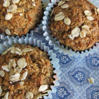 Healthy Oatmeal Muffins on blue tablecloth