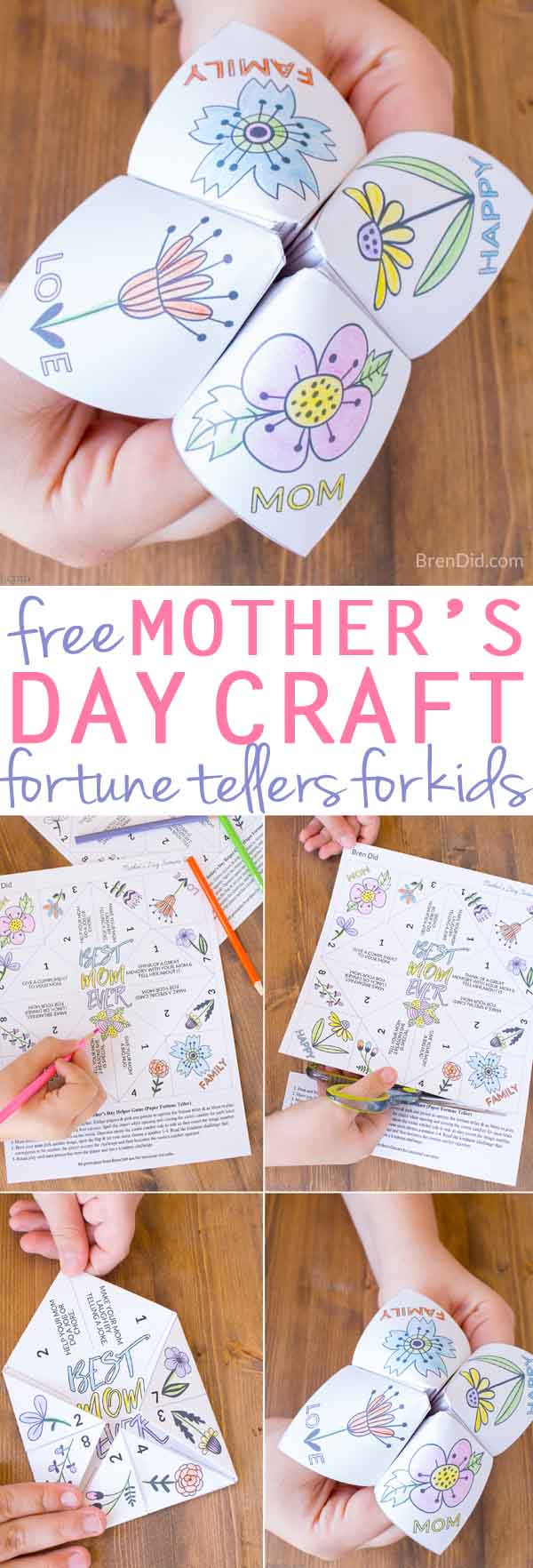 Easy Mother's Day Craft for Kids | Mother's Day Fortune Teller  | free printable Mother's Day craft | Mother's Day free printable craft