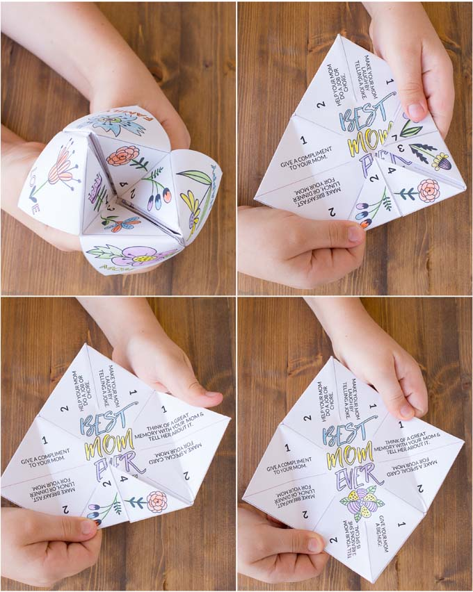 black and white Mother's Day Fortune Teller steps 2
