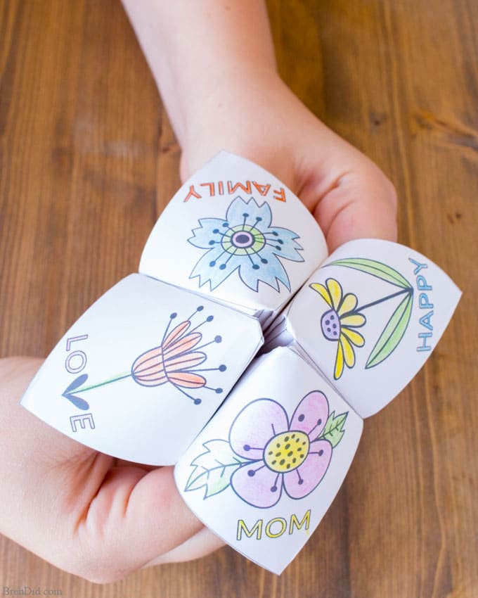 Mother's Day fortune teller to color, Easy Mother's Day Craft for Kids