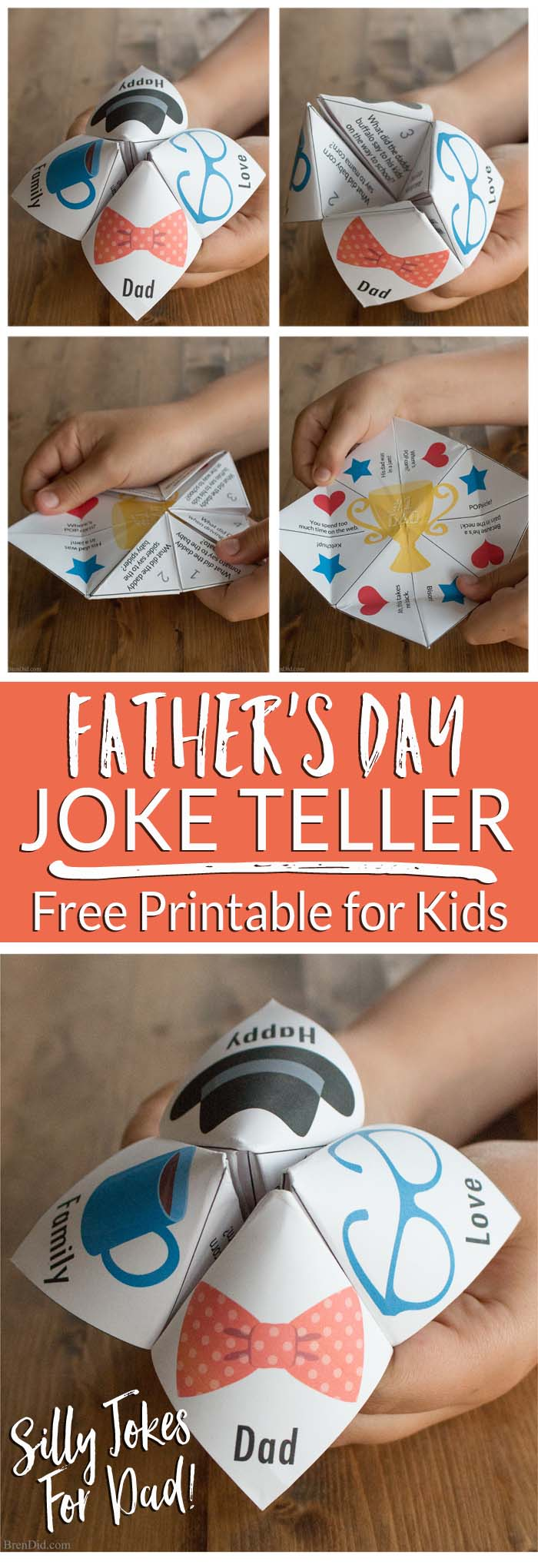 Surprise Dad with a free printable joke teller filled with funny Father's Day jokes   Easy Father's Day Craft   Dad jokes for kids   Father's Day Gift
