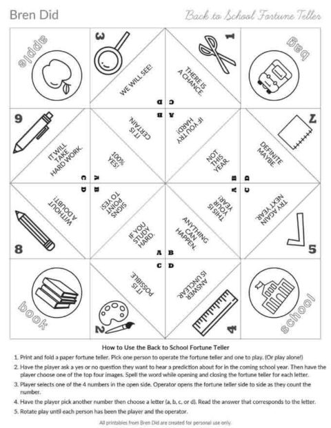 Back to school fortune teller in black and white for coloring