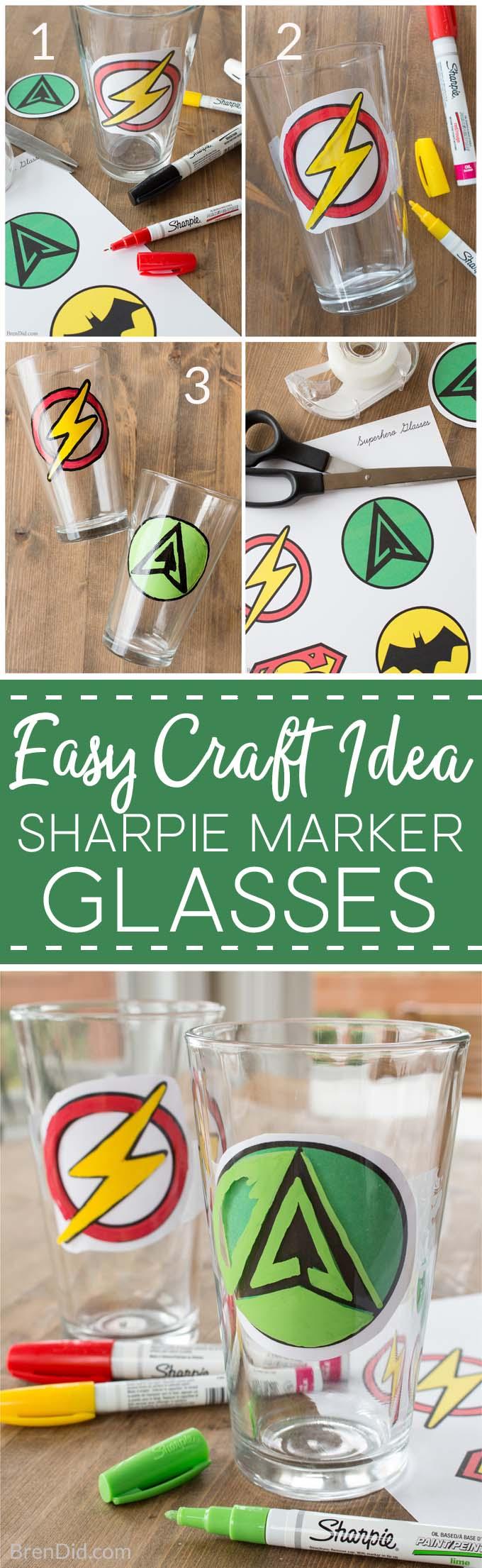 How to Make Custom DIY Sharpie Glasses, Sharpie glass diy, sharpie glassware, how to draw on glass with sharpie, sharpie art, sharpie crafts, superhero craft