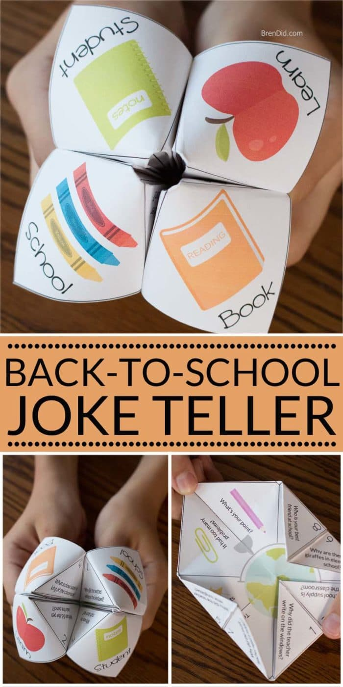 Paper joke tellers are a fun back to school activity for kids that can be made in just a few minutes. This silly fortune teller or cootie catcher is full of school jokes that are perfect for kids. Kids activity. Back to school activity.