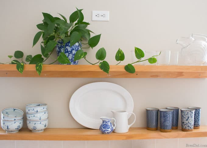 Mini Kitchen Remodel Shelves with Blue and White Dishes