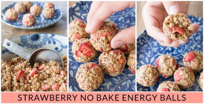 Strawberry Crispy Energy Balls For Kids FB