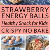 Strawberry Crisp Energy Balls For Kids Pin