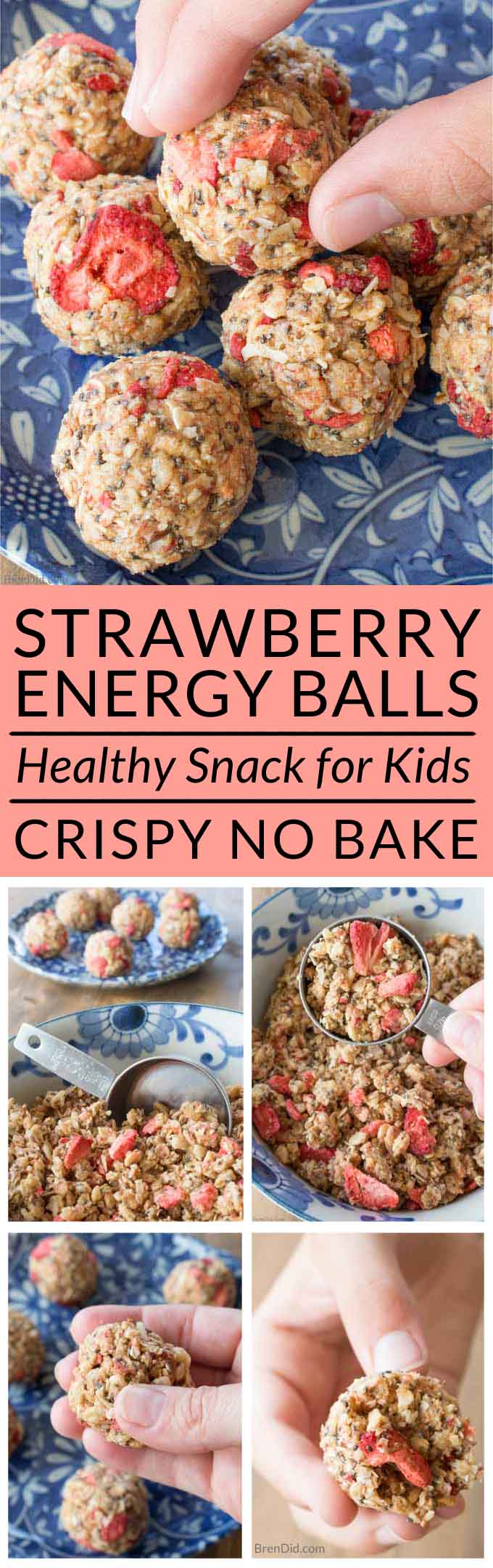 Strawberry Crisp Energy Balls For Kids Pin