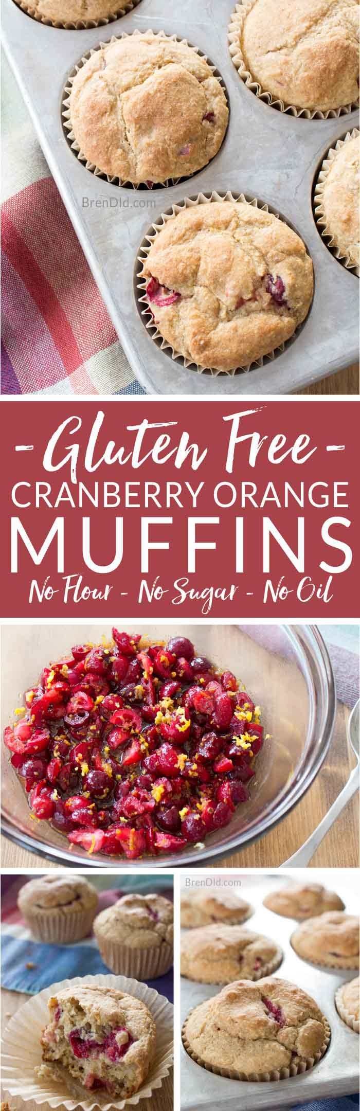 Must try these amazing Gluten Free Cranberry Orange Muffins! The contain No Flour, No Sugar & No Fat! gluten free muffins | healthy muffins | healthy oatmeal muffins | healthy cranberry muffins