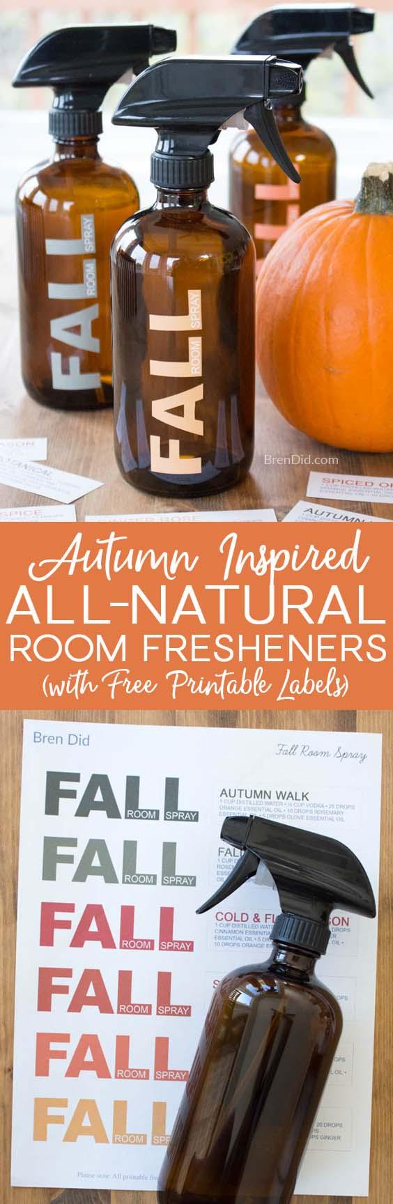 All natural room freshener spray, homemade room refresher spray, DIY air freshener, free printable - Learn to make all-natural room freshener that will leave your home smelling like autumn.