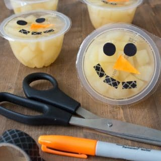 Snowmen Fruit Cups made with washi tape and marker