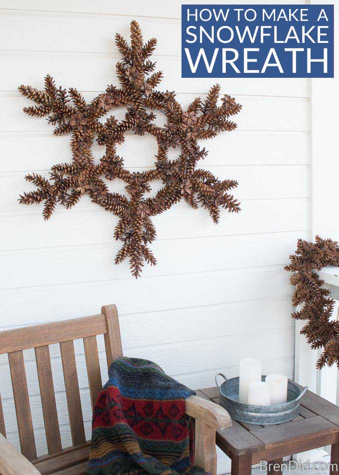 How to Make a Snowflake Pinecone Wreath FB