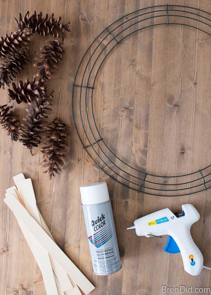 Snowflake Pinecone Wreath Supplies