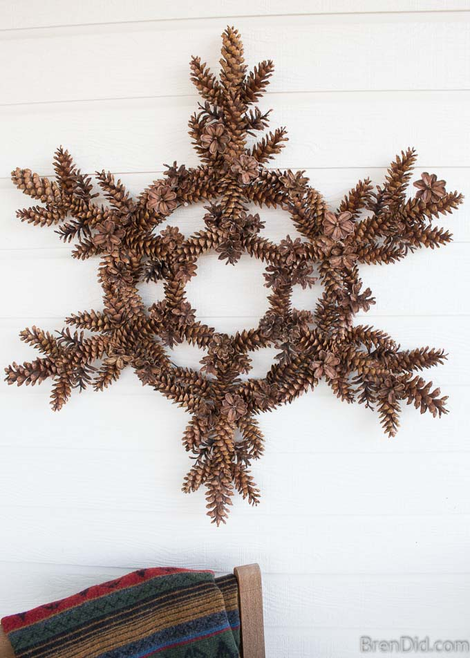 Snowflake Pinecone Wreath completed