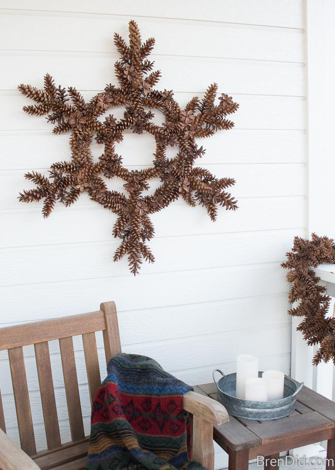 pinecone snowflake wreath
