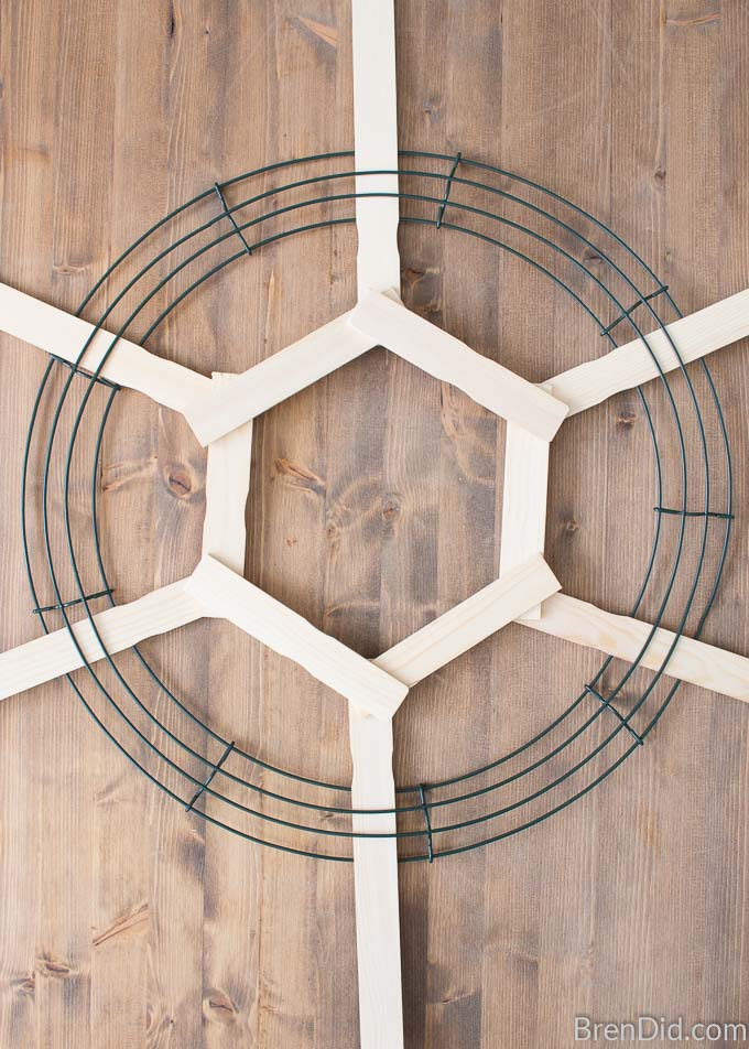 wreath for with stir sticks hexagon
