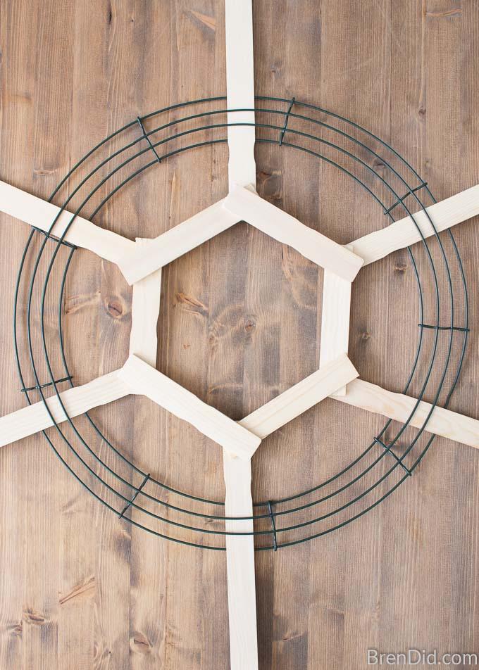 wreath for with stir sticks hexagon
