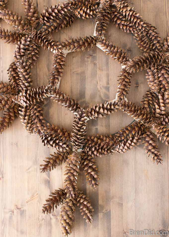 Snowflake Pinecone Wreath covered