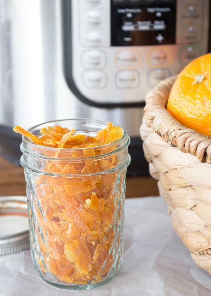 Instant Pot Candied Orange Peel close Up