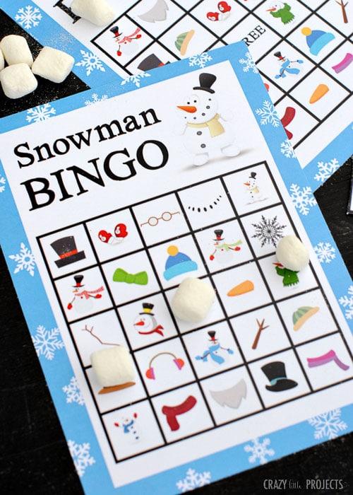Class Party Ideas snowman bingo