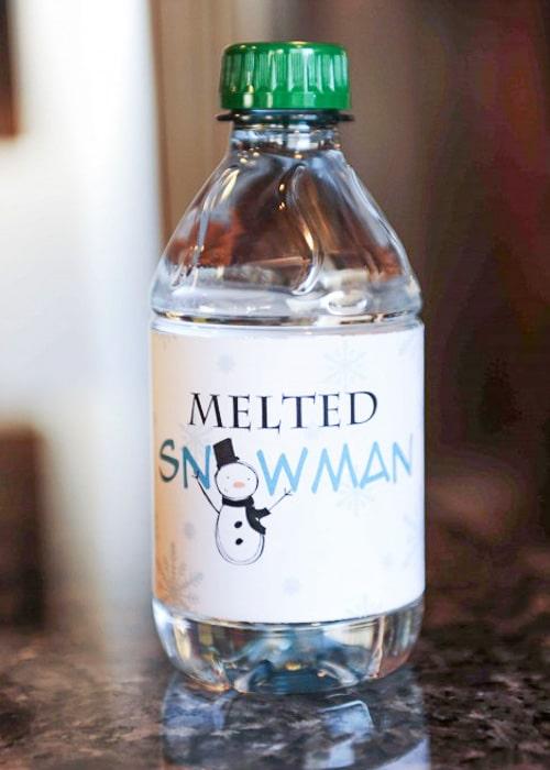 Class Party Ideas snowmen water bottles