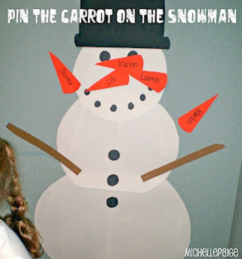 Class Party Ideas Pin the Carrot on the Snowman