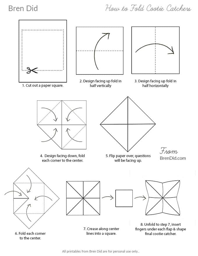 How to fold fortune tellers