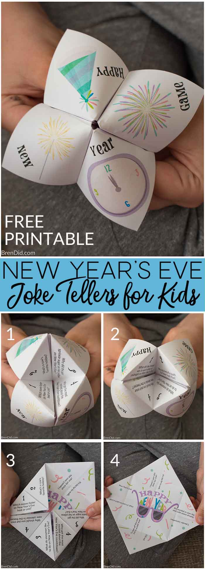 New Years Eve joke tellers | New Years Eve jokes | New Years Eve party | winter party | free printable | New Years Eve jokes for kids |  cootie catcher |  fortune teller #NewYearsEve #StreamTeam #joketeller