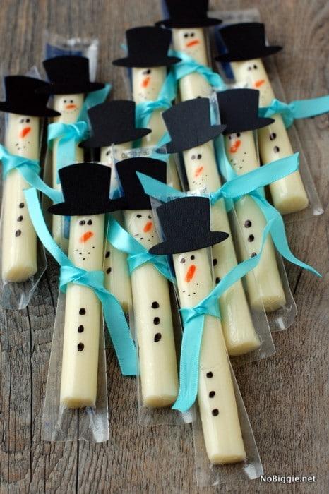 snowmen cheese sticks