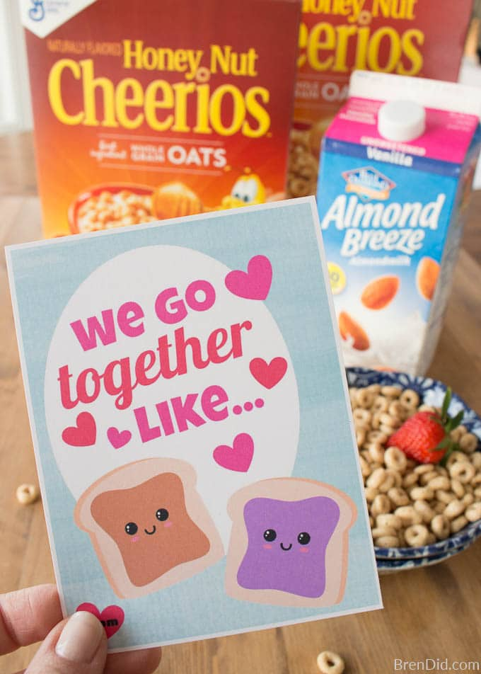 We Go Together Free Printable BFF Valentines with cereal
