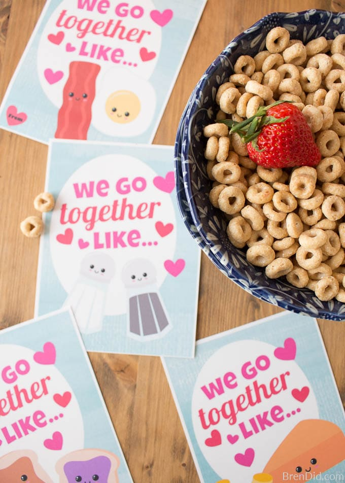 Free Printable valentines with cereal Best Friend Cards