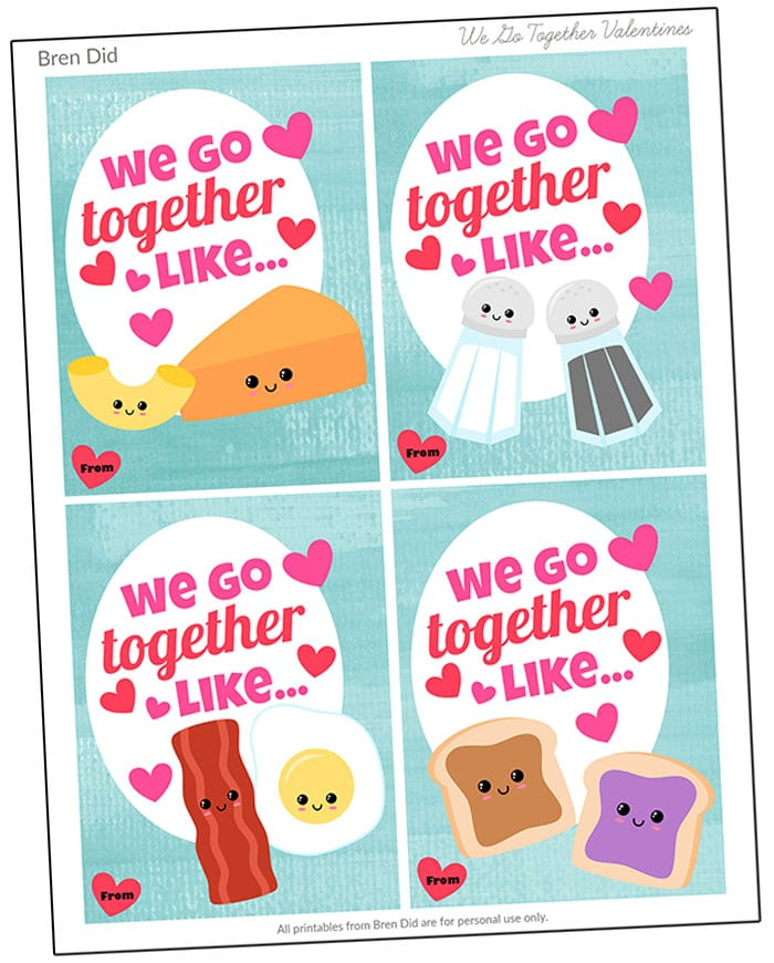 We Go Together Free Printable BFF Valentines from BrenDid