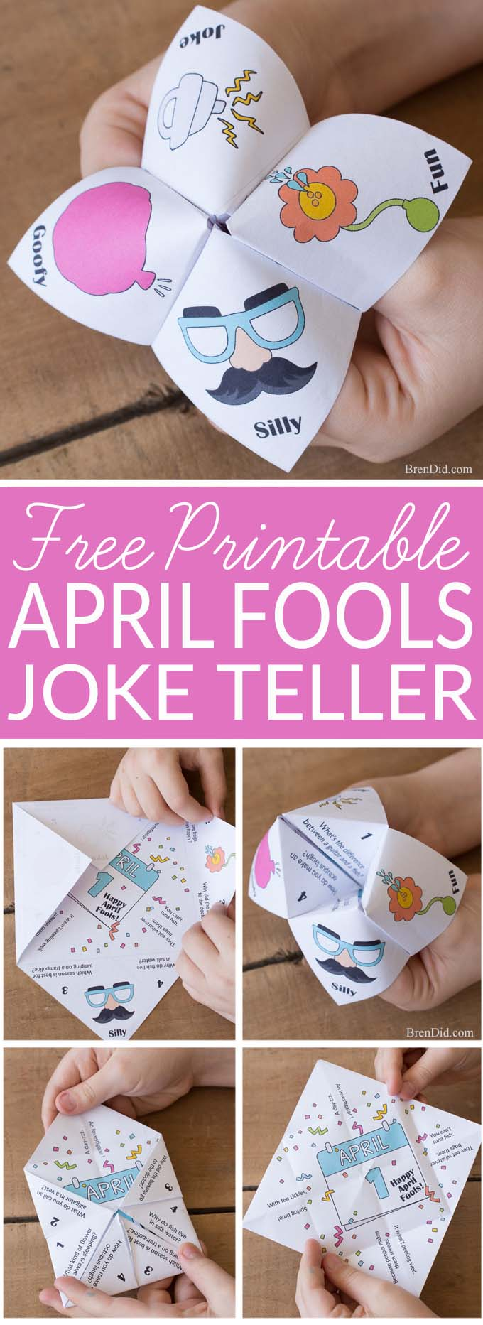 April Fools Jokes for Kids: Mixed Up Joke Teller - mixed up jokes and answers will have your kid laughing this April Fools Day | Aprils fools day prank for kids | fortune teller | cootie catcher | chatterbox | #joketeller #aprilfoolsday #fortuneteller