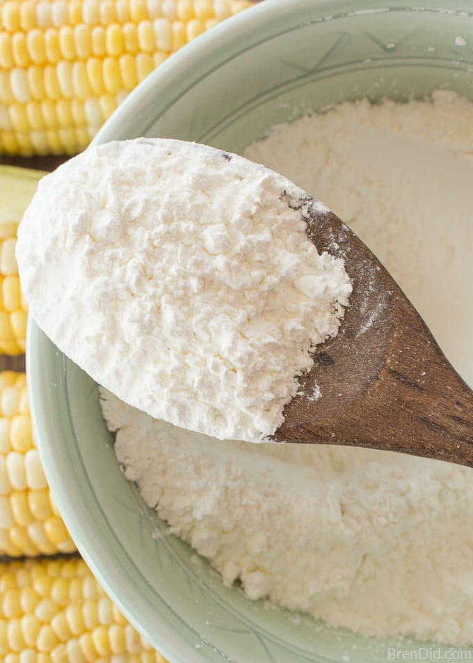 bowl of cornstarch with spoon