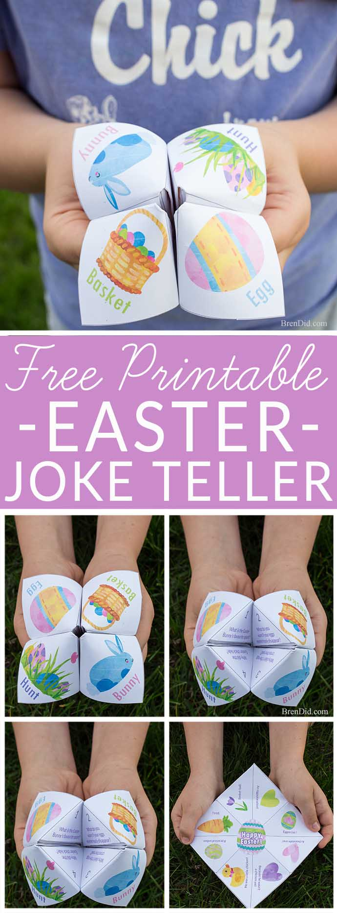 Kids love this silly Easter Joke Teller full of fun jokes and share some laughs with your favorite kids. Cootie catcher. Fortune teller. East craft. #Easter #joketeller