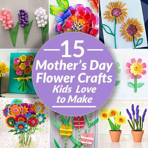 collage of Mothers Day Flowers crafts