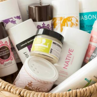 Natural deodorants in a basket