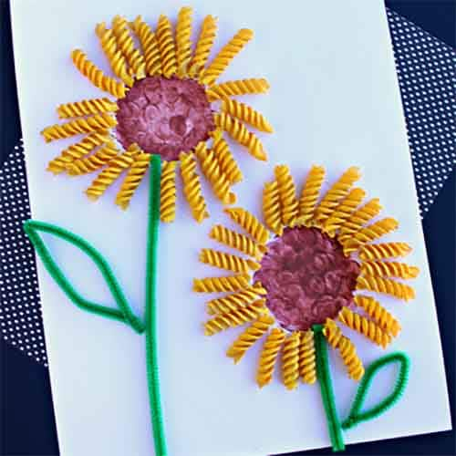 flowers made from noodles