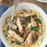 Crock Pot Chicken Marsala with Mushrooms, Sun Dried Tomatoes and Spinach